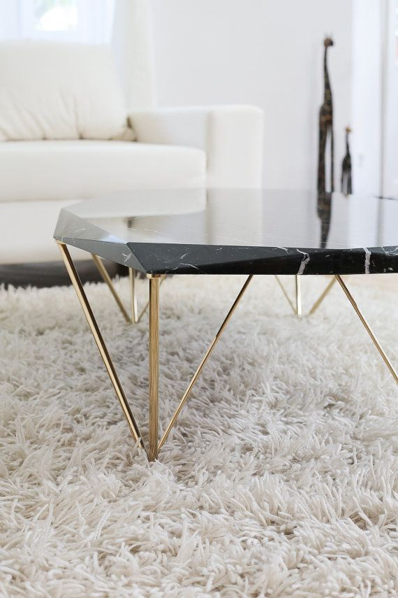 Marble Top Coffee Table With Iron Legs