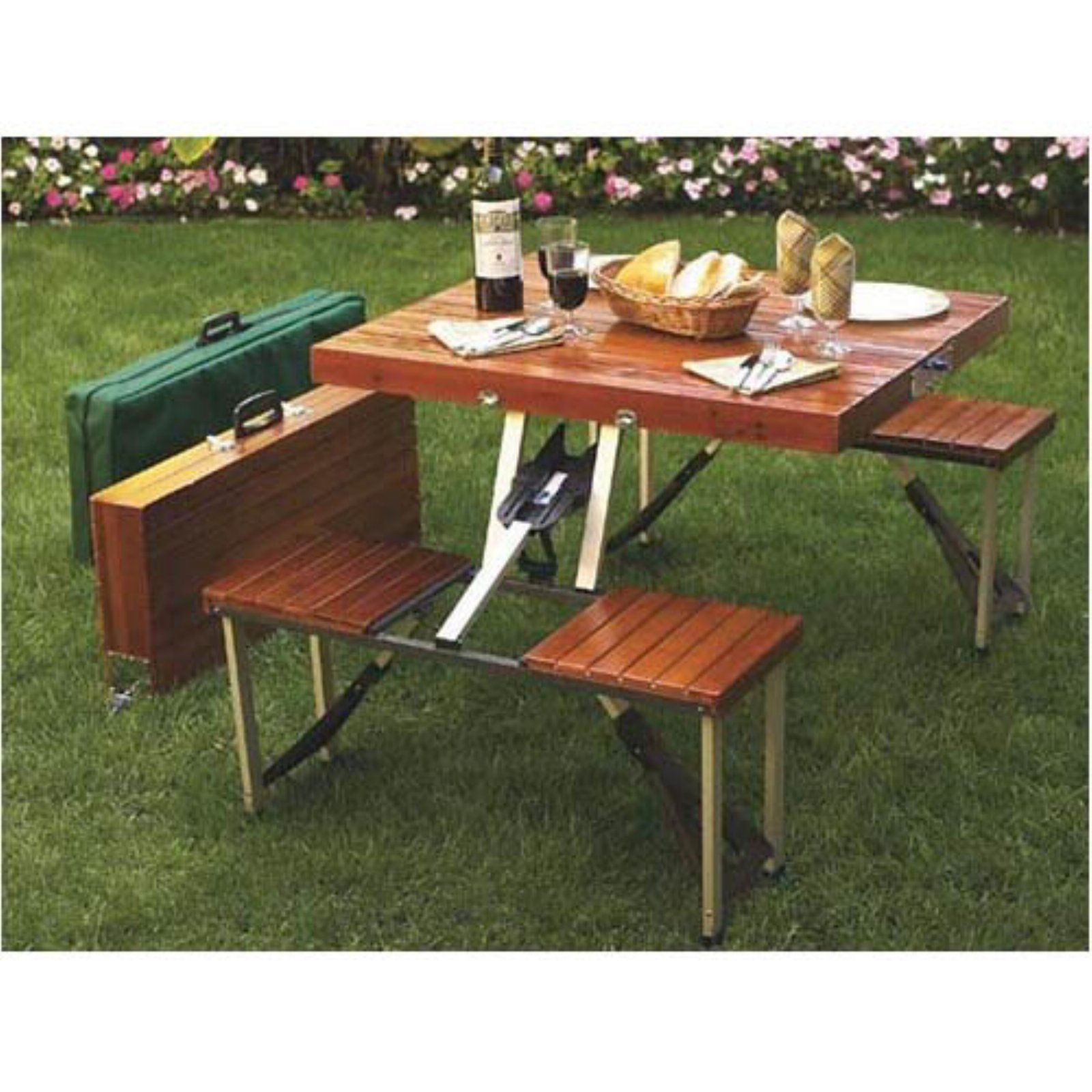 Outdoor Leisure Season 4 Person Folding Picnic Table In 2019