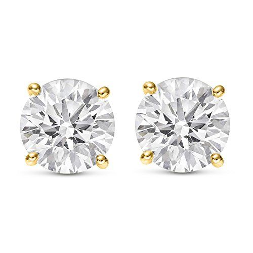 14 Carat 14k Yellow Gold Solitaire Diamond Stud Earrings Round Brilliant Shape 4 Diamond Solitaire Earrings Pyramid Stud Earrings Diamond Earrings Studs Round