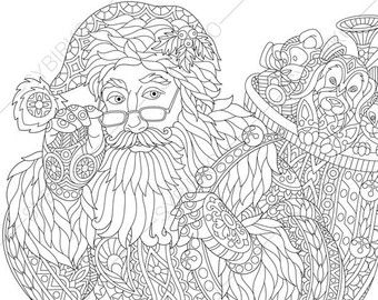 Adult Coloring Page Santa Claus Zentangle Doodle Book Pages For Adults Digital Illustration Instant Download Print