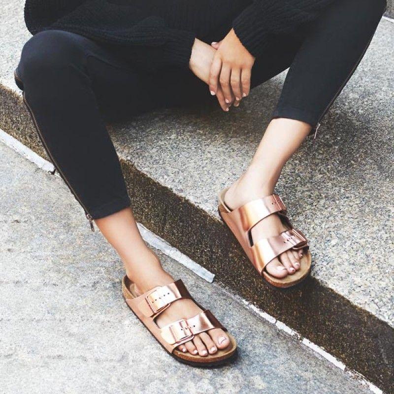 5408f3d4c46 Birkenstock Arizona Leather Metallic Copper Soft Footbed Sandals ...