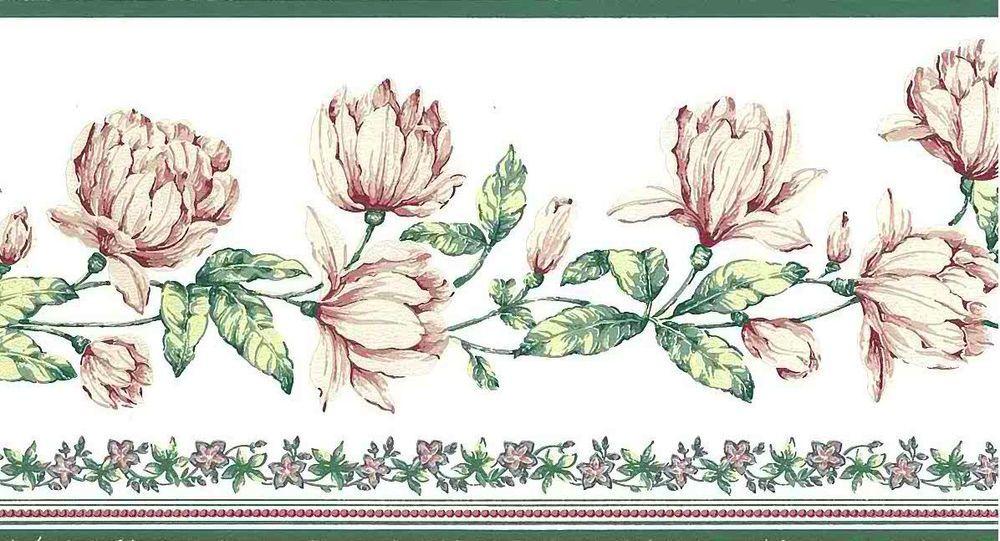Pink Green Vintage Peony Like Floral Wallpaper Border Ca16842b Floral Wallpaper Border Vintage Floral Wallpapers Wallpaper Border
