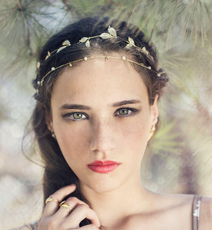 fall flexible wire headbandcrown bridal hair accessories wedding tiara grecian wreath golden leaves tiara bridal bohemian hair jewelry