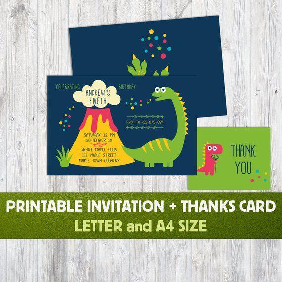 Dinosaur Birthday Invitations Personalized Invite