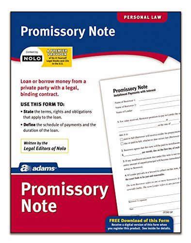 Adams Promissory Note, Forms and Instructions (LF293) - The Adams - promissary note template