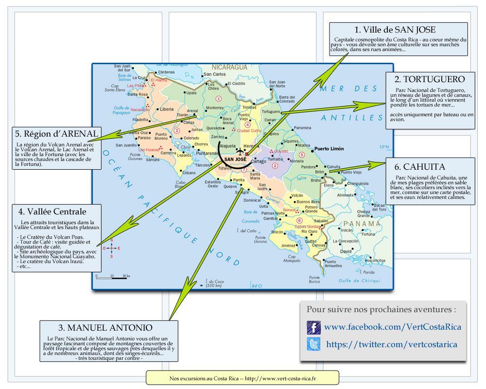 Carte Des Excursions Au Costa Rica Du Blog Vert