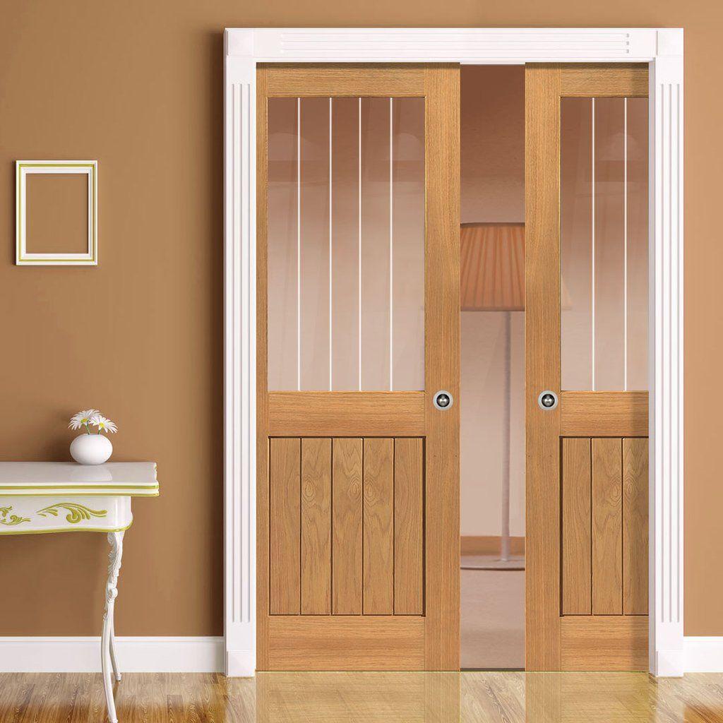 Double Sliding Glass Doors: Double Pocket River Thames Oak Half Light Sliding Door