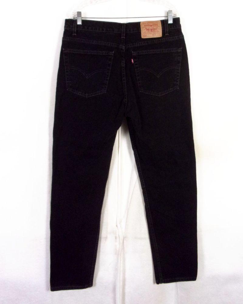8f276479 vtg 80s 90s Levis Men's 512 Slim Fit Tapered Leg USA Black Denim Jeans 36 X  32