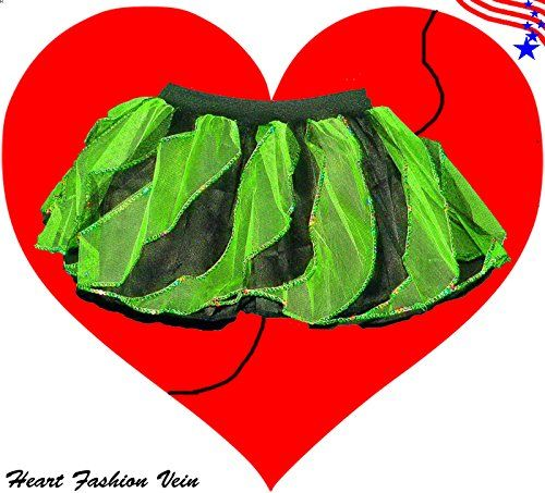 Green Black Sequins Twister Two Tone Tutu Skirt Halloween Pumkin HeartFashionVein