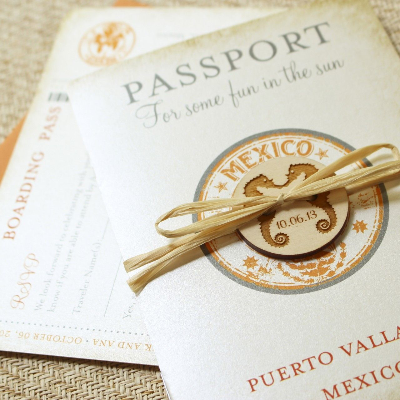 Vintage Mexico Stamp Passport Wedding Invitation (Puerto Vallarta ...