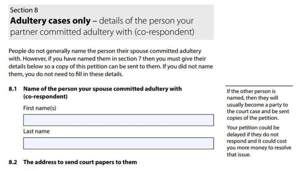 Name The Adulterer Says New Divorce Form  Divorce Forms