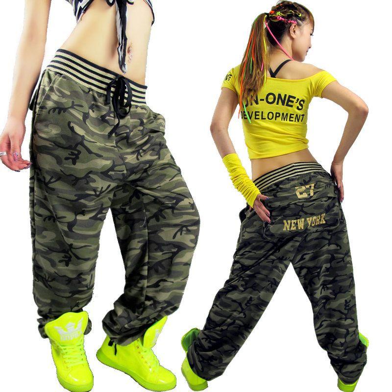 Hip hop pants Large pocket Casual pants Camouflage pants hiphop jeans Female trousers Loose Free ...