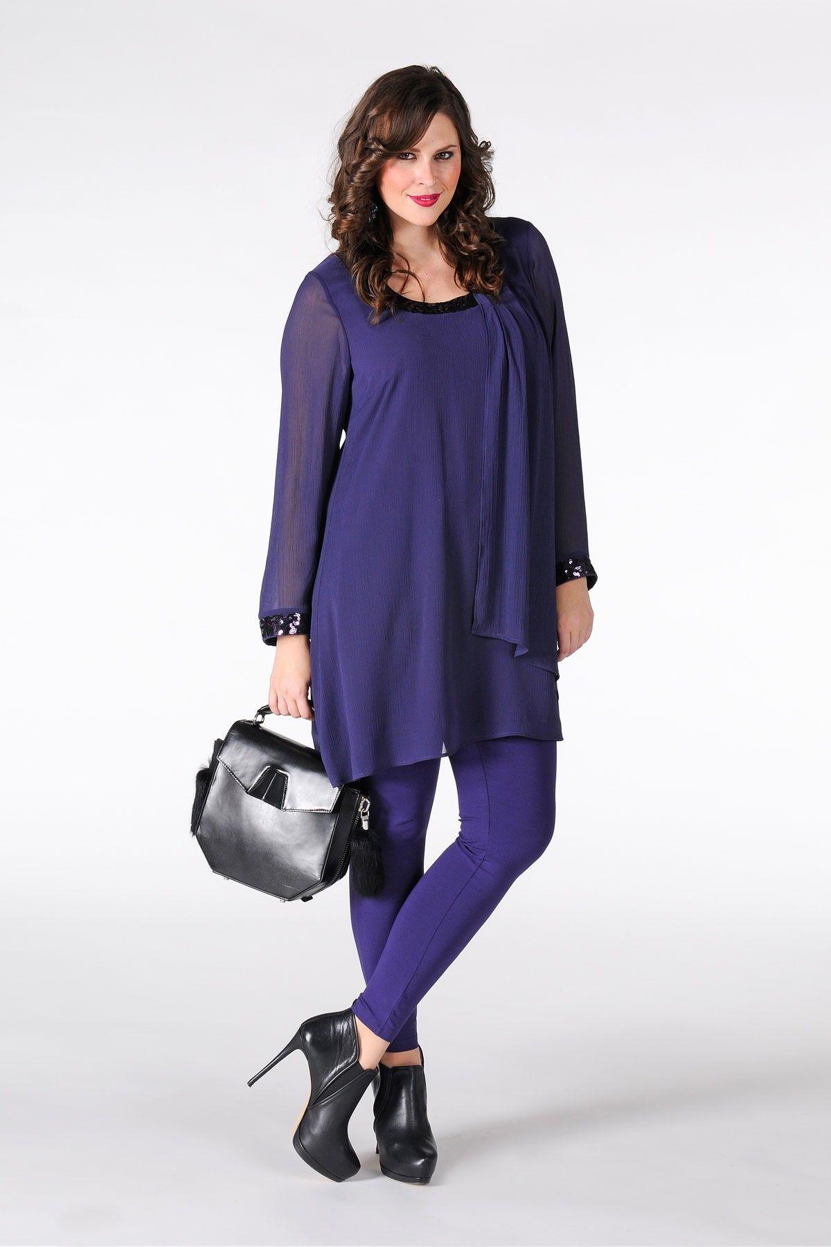 Tunic A-sym paillet VOILE - Yoek Plus size fashion grote maten mode winter 13/14