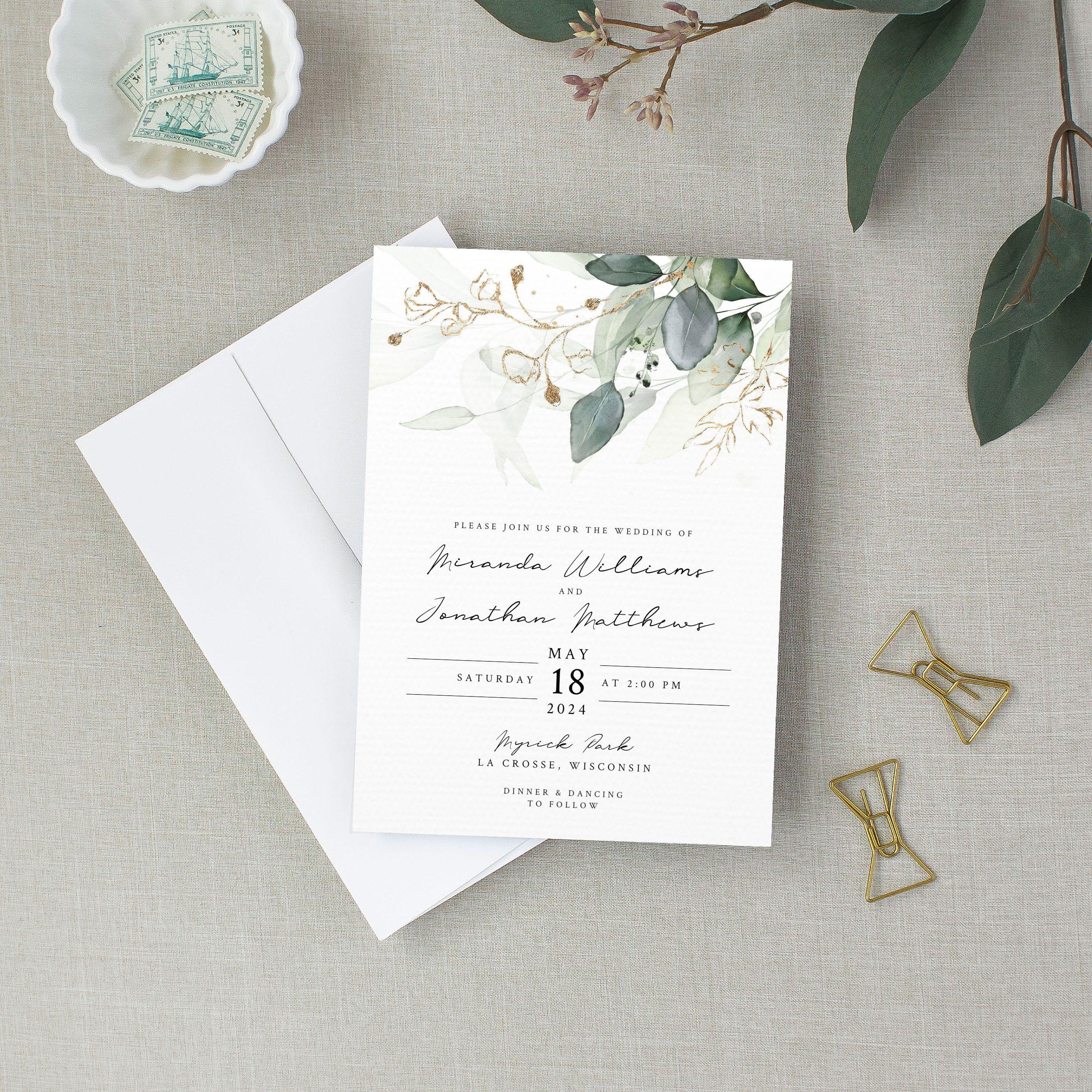 Wedding Invitation Set Template Eucalyptus Bohemian Etsy Wedding Invitations Wedding Invitation Sets Eucalyptus Wedding Invitation