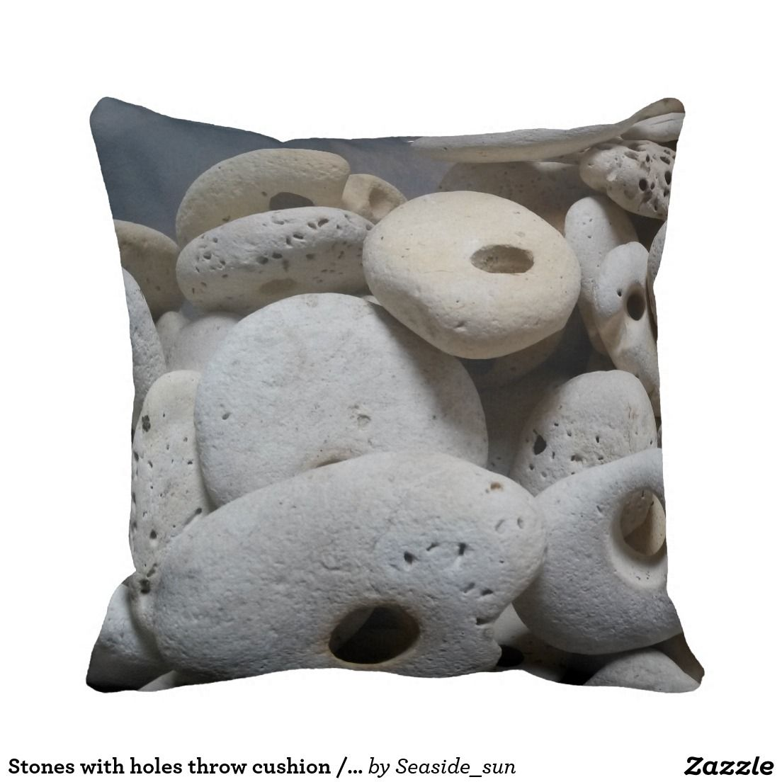 Stones with holes throw cushion / pillow.