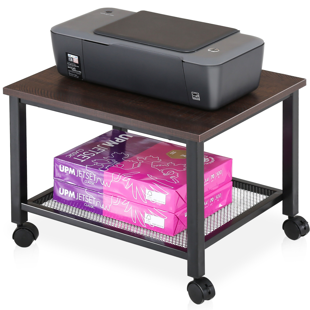 Fitueyes Printer Stand On Wheels 2 Tier End Table Under Desk Mesh Storage Ps204801mw Walmart Com In 2020 Printer Stand End Tables Wood And Metal