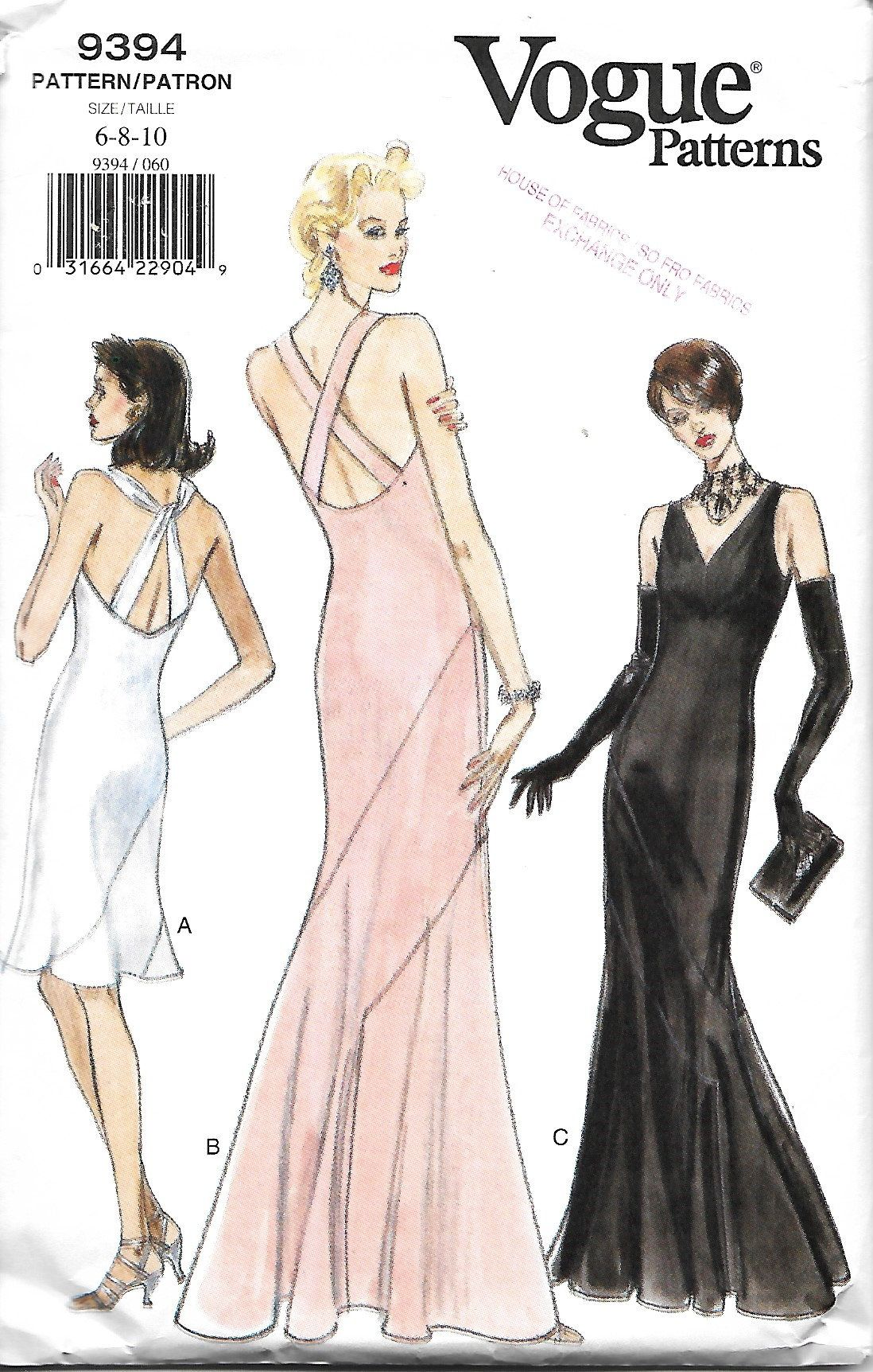Vogue 9394 Misses Evening gown Sewing Pattern, Size 6-8-10 ...