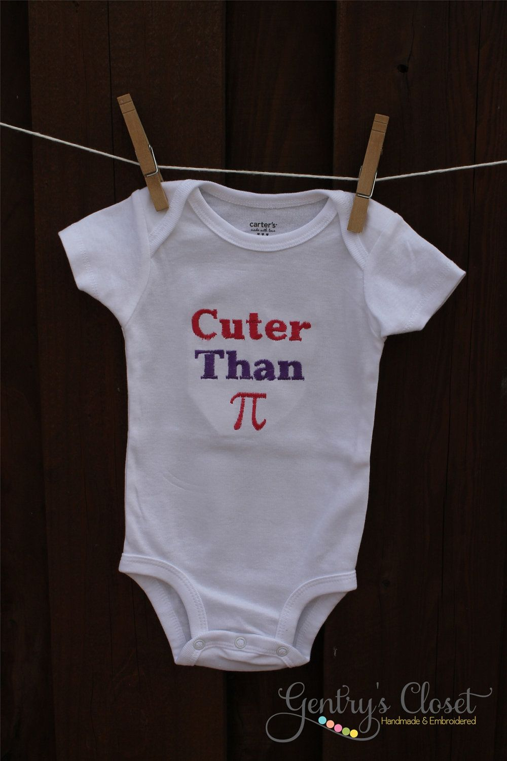 76f8ecc9b For the math teacher in me I HAD to pin this!!! Baby Girl or Boy Clothes -  Cuter Than Pi Onesie or Shirt - Embroidered infant bodysuit. Baby Shower  Gift.