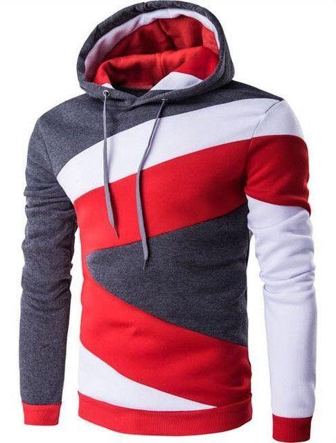38e0cf6514a 2017 Hoodies Mens Male Hip Hop Male Brand Hoodie Color Stitching Sweatshirt  Suit Men Slim Fit Men Hoody XXL E5RV