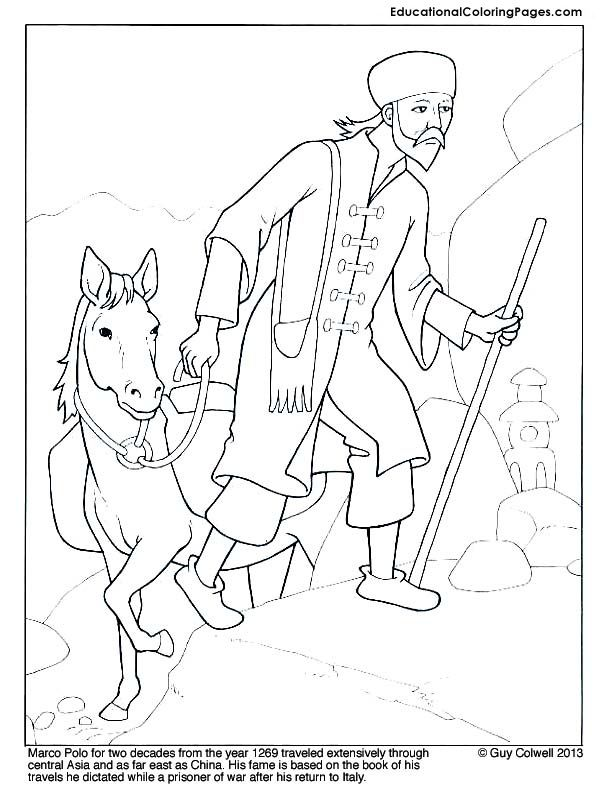 Marco Polo Coloring Page Mystery Of History Volume 2 Lesson 71