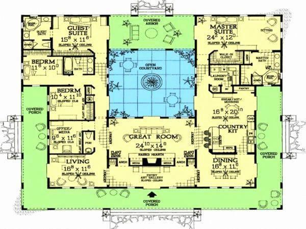 Spanish Style Homes With Interior Courtyards Beautiful House Plans Center Courtyard Pool Lovely Pool House Plans Mediterranean House Plans U Shaped House Plans