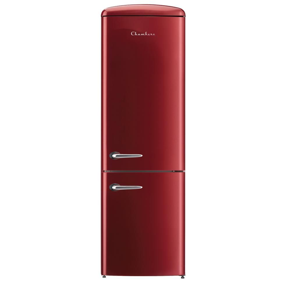 Chambers Retro 24 In 12 Cu Ft Bottom Freezer Refrigerator In Bordeaux Crbr2412 Rr The Home Depot In 2020 Retro Refrigerator Bottom Freezer Refrigerator Bottom Freezer