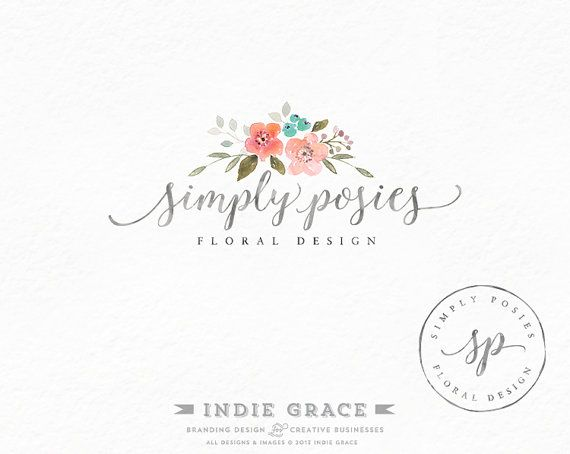 Watercolor Floral Calligraphy Logo design and Logo Stamp - Custom PreDesigned - for photography or boutique