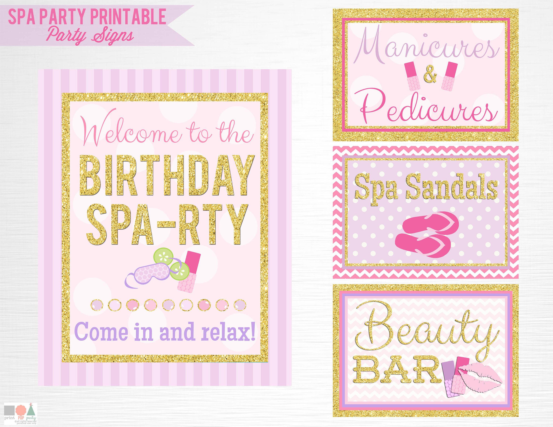 Gold Spa Birthday Party Printable Signs Door Sign Facials Spa