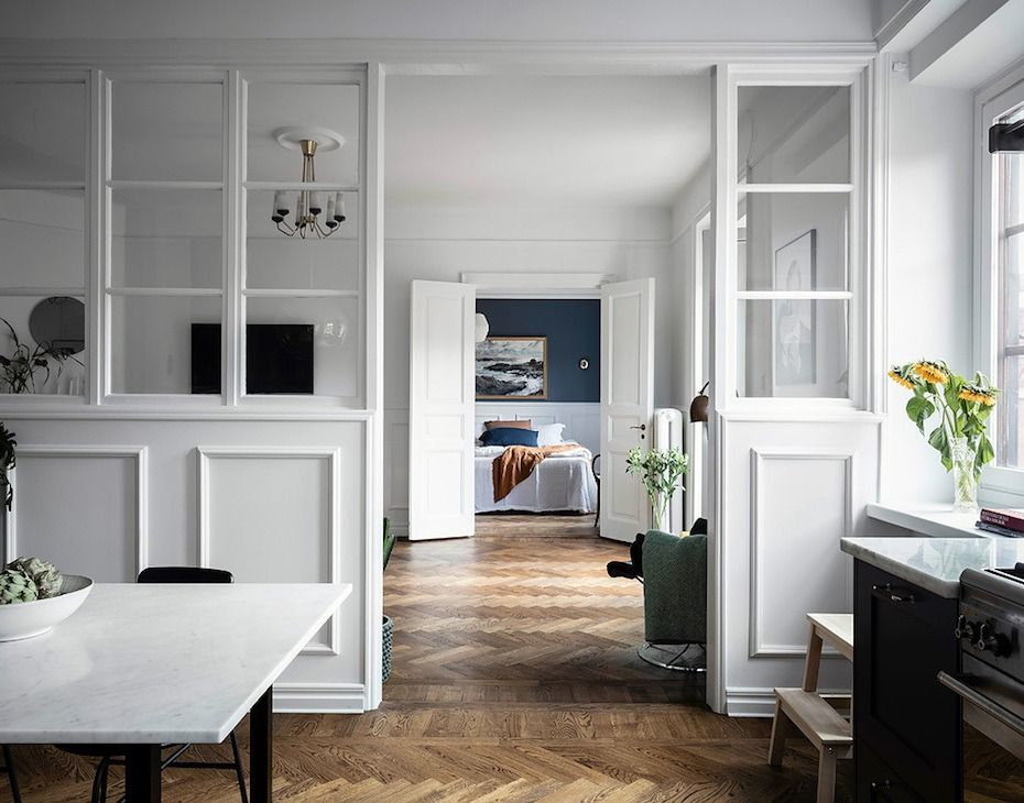 No Foyer Entry We Walk Straight Into The Living Room Living Room Kitchen Partition Living Room Divider Glass Partition Wall Small living room no entryway