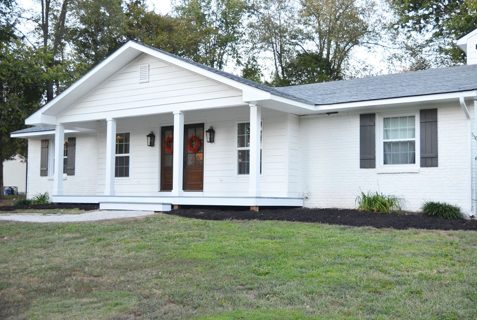 Adding a front porch to a brick ranch brick ranch front for Ranch home with porch