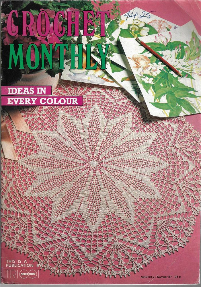 Crochet Monthly Magazine 87 Doily Table Mat Cloth Motifs Cushions