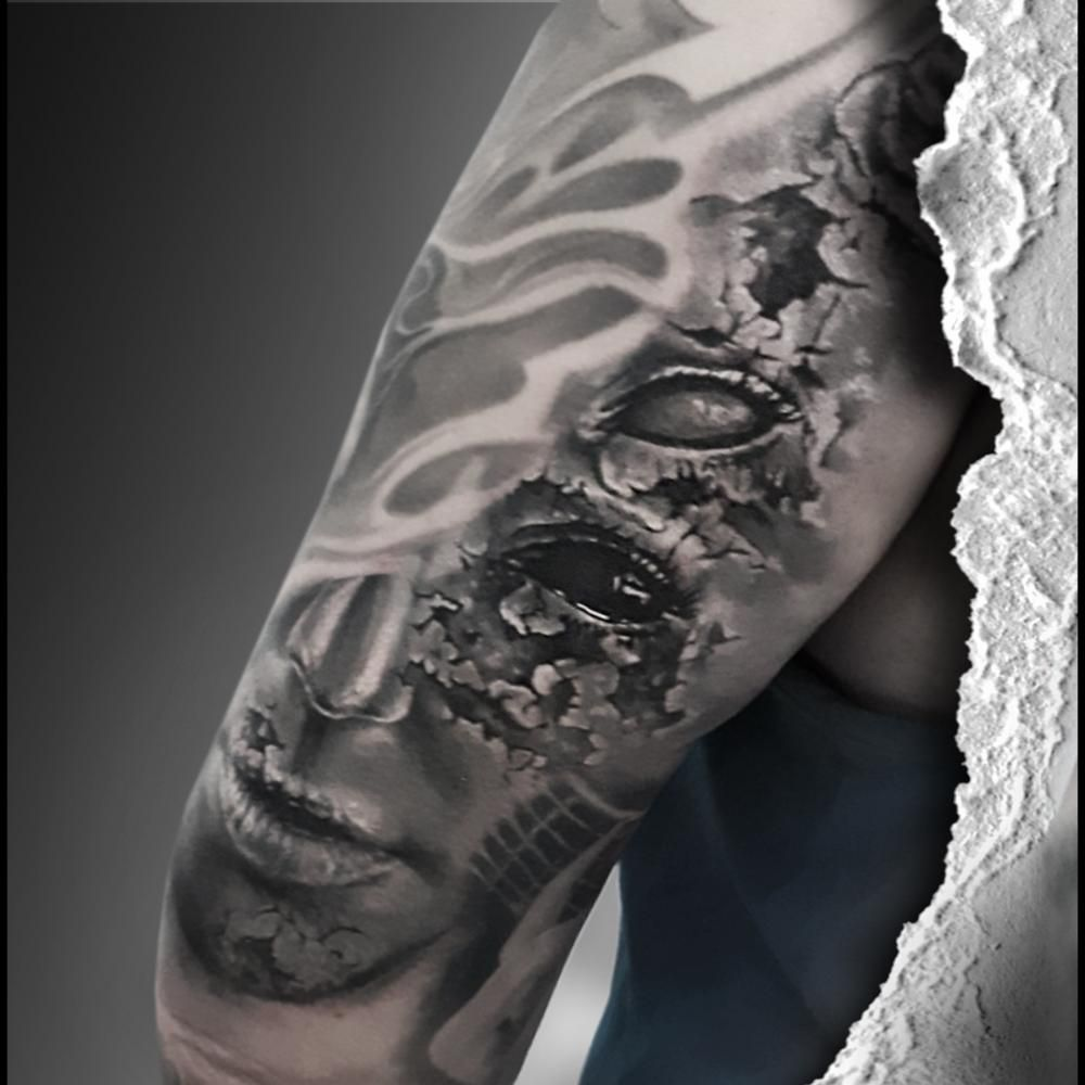 Ghost eye tattoo. #EyeTattoosSleeve #SimpleEyeTattoos #EyeTattoos #EyeTattoosForMen #EyeTattoosOnHand #TattooIdeas #TattooAwards