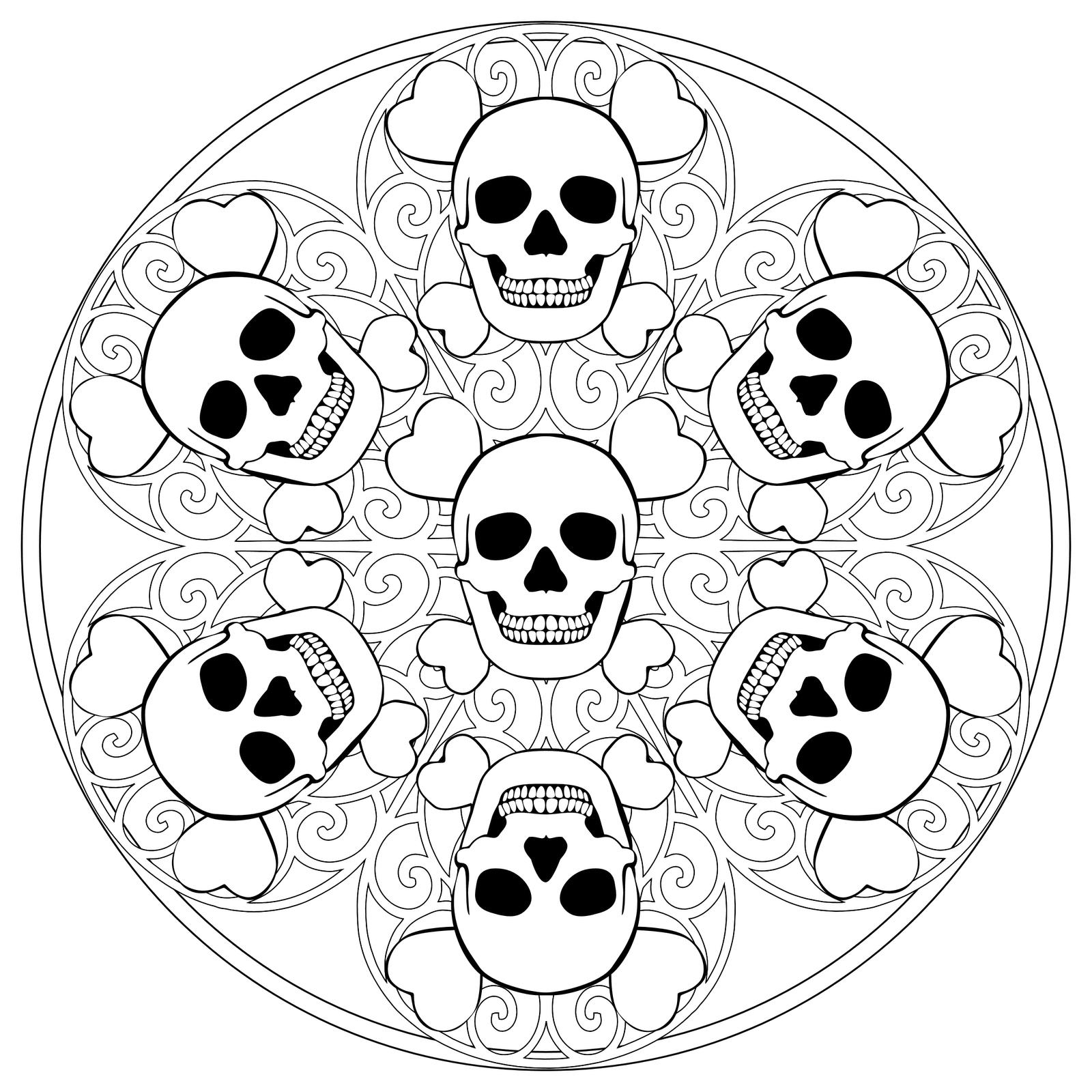 coloriage mandala Dessins et images mandala gratuits  colorier Coloriage mandala amusant tªte de mort