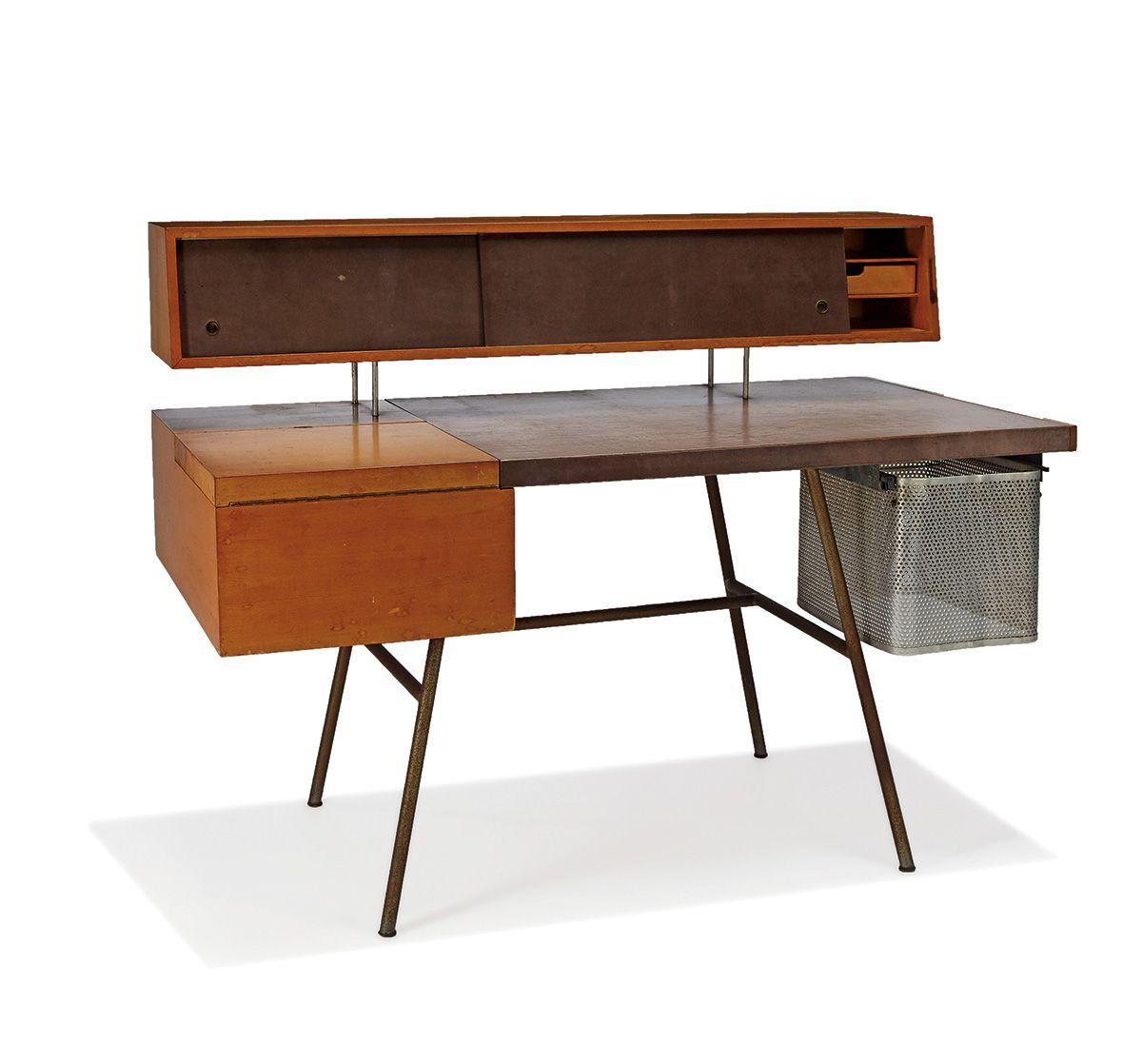 "George Nelson Home Office desk Designed 1946 Model no. 4658 Herman Miller Retains silver manufacturer's label 41"" x 54"" x 28"""
