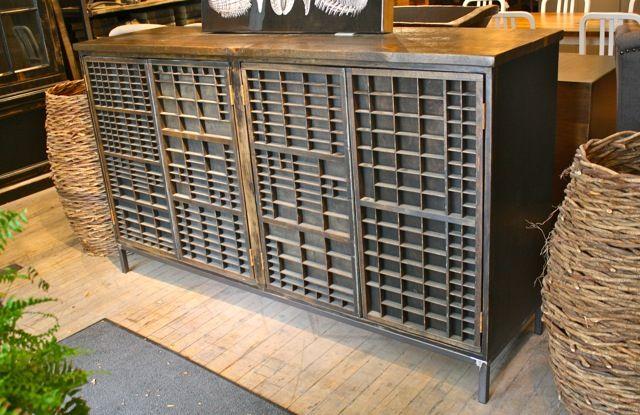 Merveilleux Vintage Printers Tray Cabinet