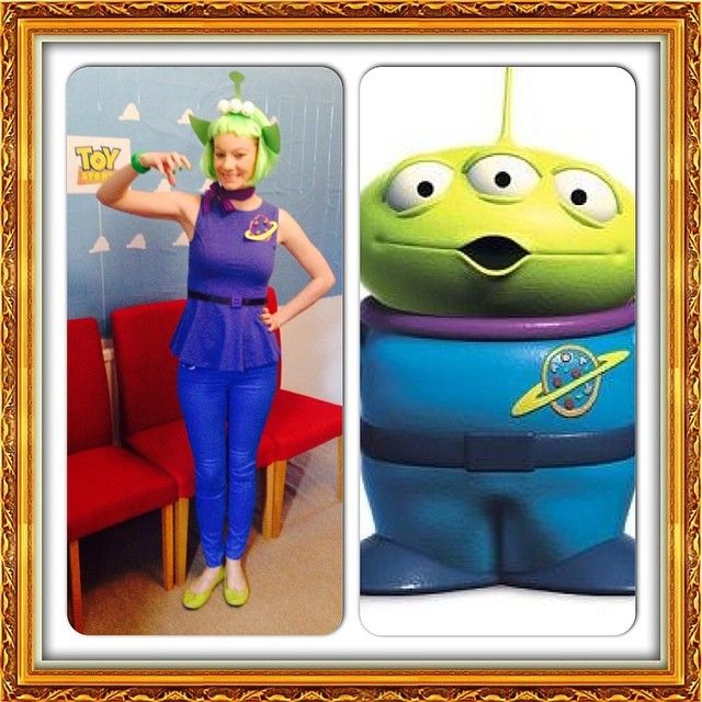 toy story alien costume customised top sew blue ribbon around waist and sew giant - Toy Story Alien Halloween Costume