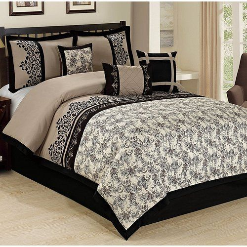 New Deluxe Jacquard Black Gold 7 pcs Cal King Queen Comforter set Or Curtain set