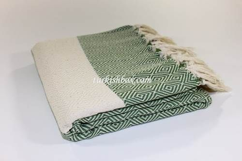 Turkish Towel Blanket - D.Green - http://turkishbox.com/product/turkish-towel-blanket-dark-green/  #turkishtowels #peshtemals #turkishproducts