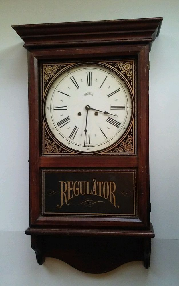 Vintage 1978 Nonworking Cornwall Regulator Wall Clock Wood Case Rod Chimes W Key Wall Clock Clock Vintage Clock