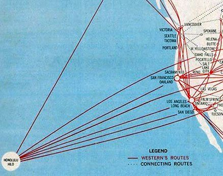 Western Airlines route map. The first airline to fly between Hawaii ...