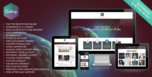 Galaxy Responsive Portfolio WordPress Theme | Wordpress, Portfolio ...
