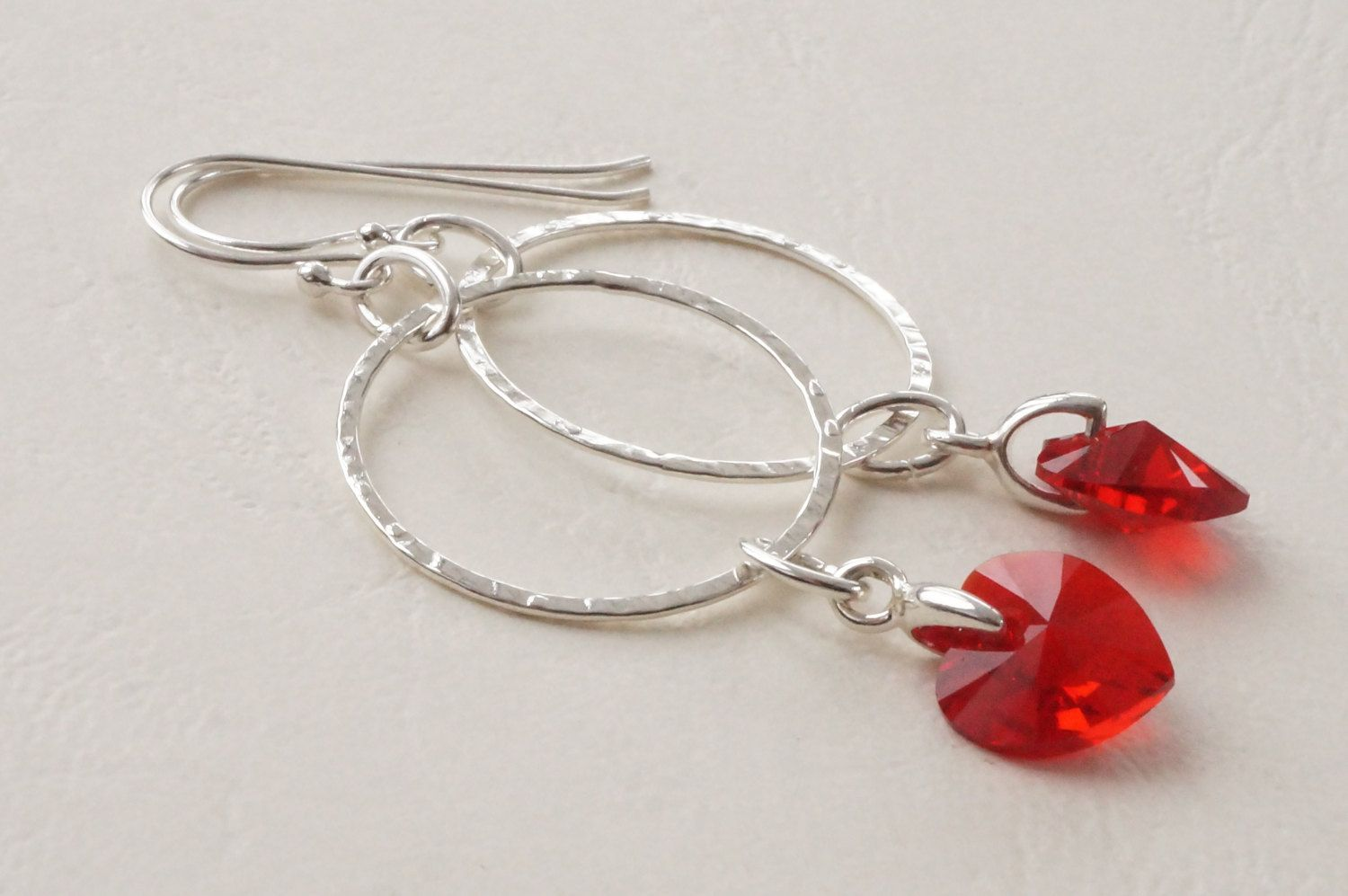 Swarovski Hearts On Hoops, Hoop Earrings, Red Heart Earrings, Hoop Charm  Earrings, Hoop Earrings With Light Siam Swarovski Hearts
