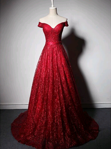 8ca2e31c9d 2018 A-line Off-the-shoulder Prom Dresses Red Long Prom Dress Evening  Dresses AMY612
