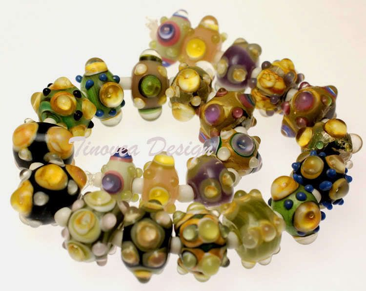 23 Rondell Lampwork Glass Beads Multicolor Mix #Lampwork