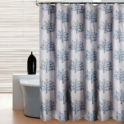 Beau Thick Gray Tree Shower Curtains