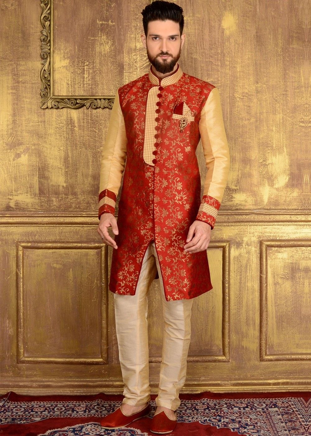 Readymade red indowestern sherwani in brocade with all over