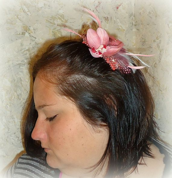 BeJeweled & Feathered Pink Orchid Hair Comb by RoyalEXander, $40.00