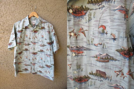 Reyn Spooner Grey Ducks Fishing Moose Cabin by GeekGirlRetro