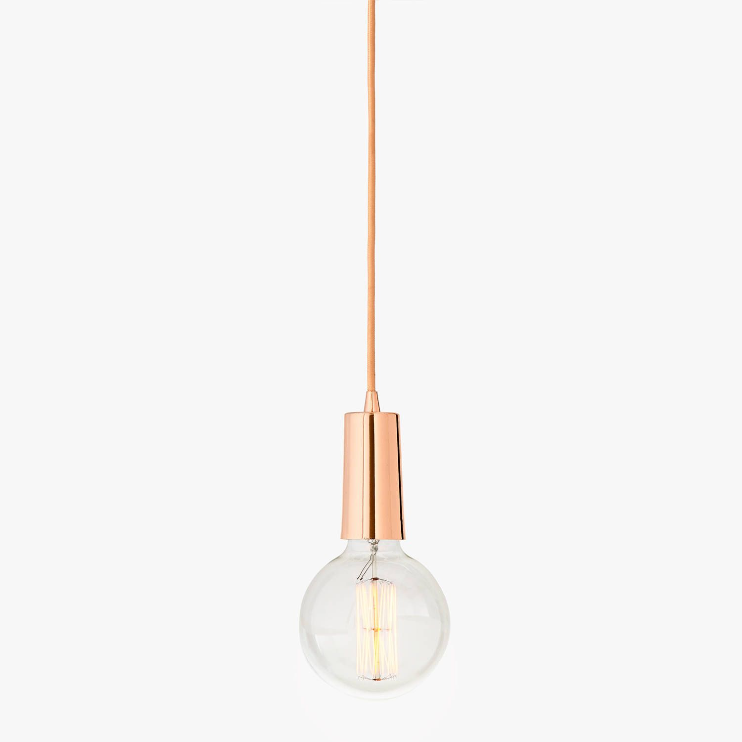Rose Gold Single Bulb Hanging Textile Cord Pendant With Vintage Bulb