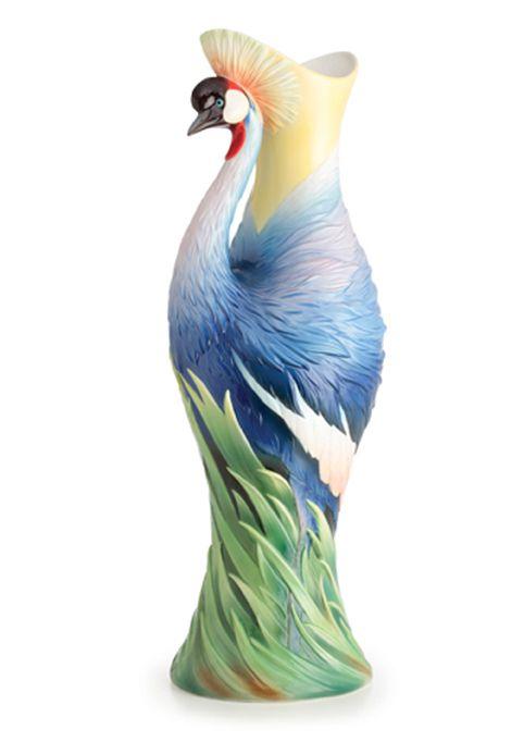 Franz Porcelain Grey Crowned Crane Vase Limited Edition Www.apoggi.com
